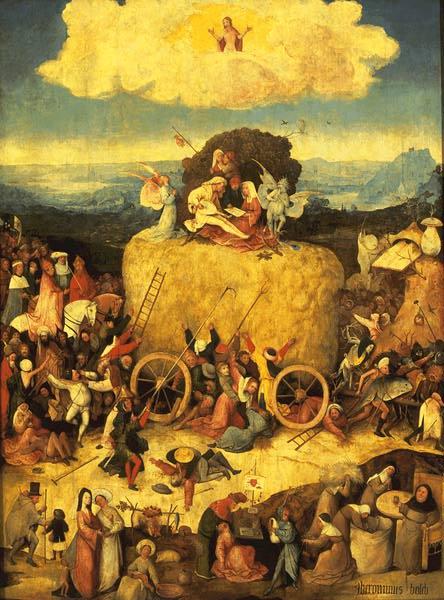Hieronymus BOSCH, Trittico del fieno: Il carro di fieno, 1500-1502